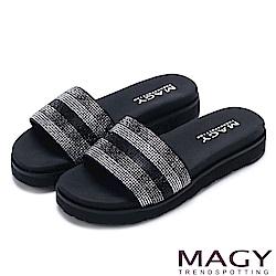 MAGY 耀眼時尚 奢華燙鑽Q彈厚底拖鞋-黑色