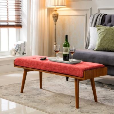 E-home Aysel艾賽爾實木拉扣兩用造型長板凳 紅色