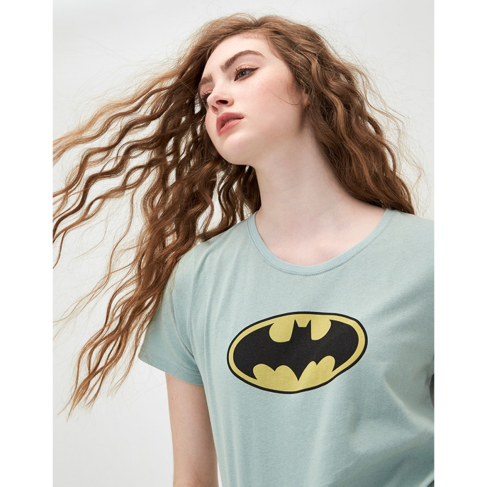 CACO-蝙蝠俠標誌短T-情侶款-(三色)-女【TDC005】