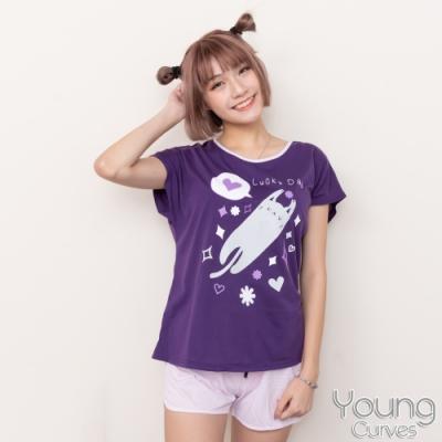 睡衣 彈性棉質短袖兩件式睡衣(C01-100728無尾熊躲貓貓) Young Curves