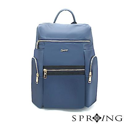 SPRING-微光澤輕量旅行後背包-質感藍