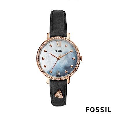 FOSSIL JACQUELINE 黑色鑲鑽愛心皮革女錶 36mm ES4533