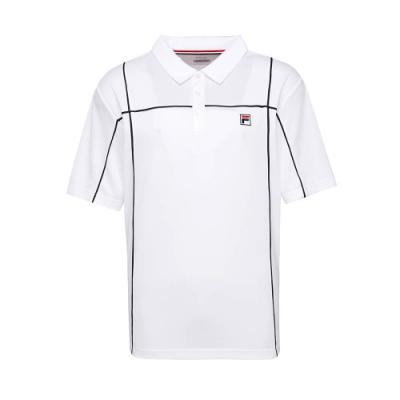 FILA 男抗UV吸濕排汗POLO衫-白色 1POT-5002-WT