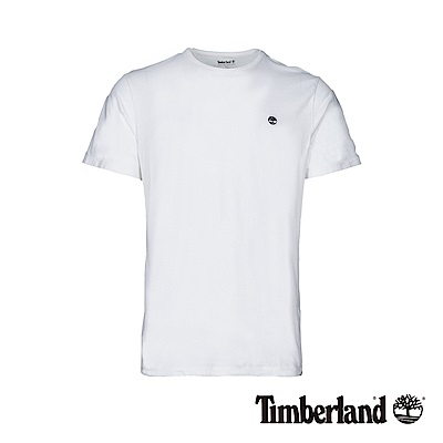 Timberland 男款白色品牌刺繡短袖T恤|A1W7U