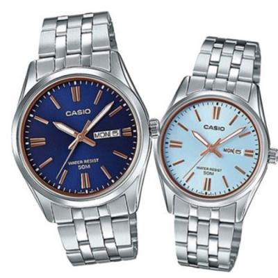 CASIO 經典簡約時刻不鏽鋼對錶-藍面(MTP-1308D-2A+LTP-1308D-2A)
