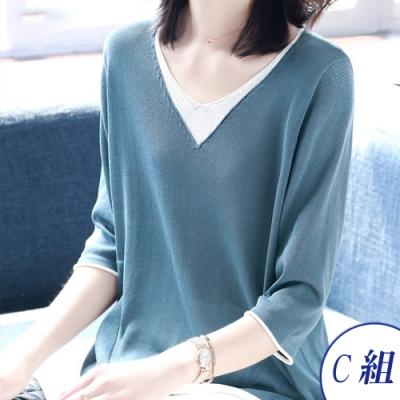 初色  冰絲鏤空蝙蝠袖針織衫-共3款-(F可選)