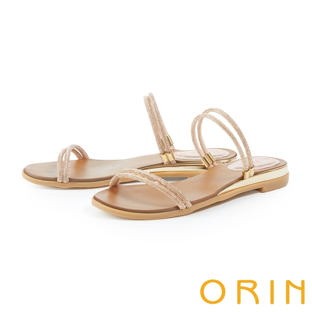 ORIN 水鑽一字斜邊鑲金平底 女 拖鞋 粉色