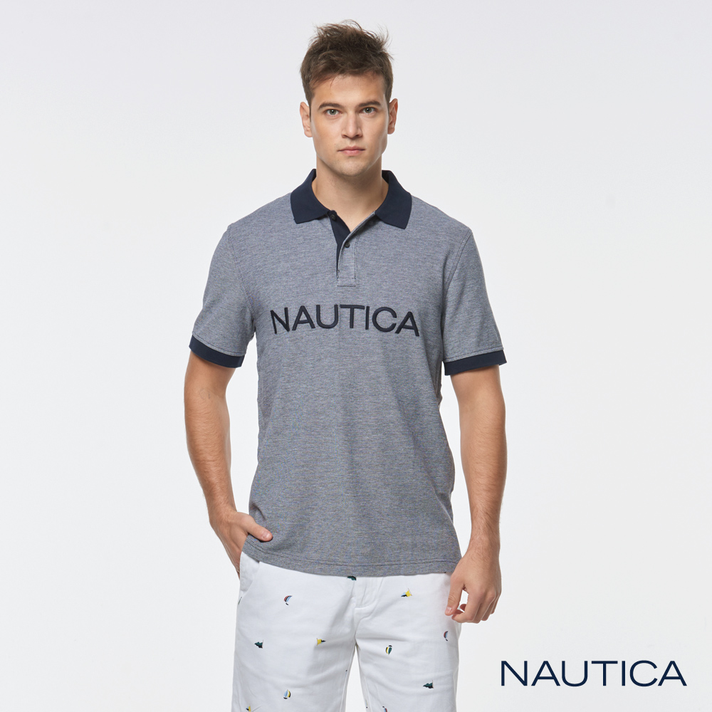 Nautica品牌 LOGO短袖POLO衫-深藍色
