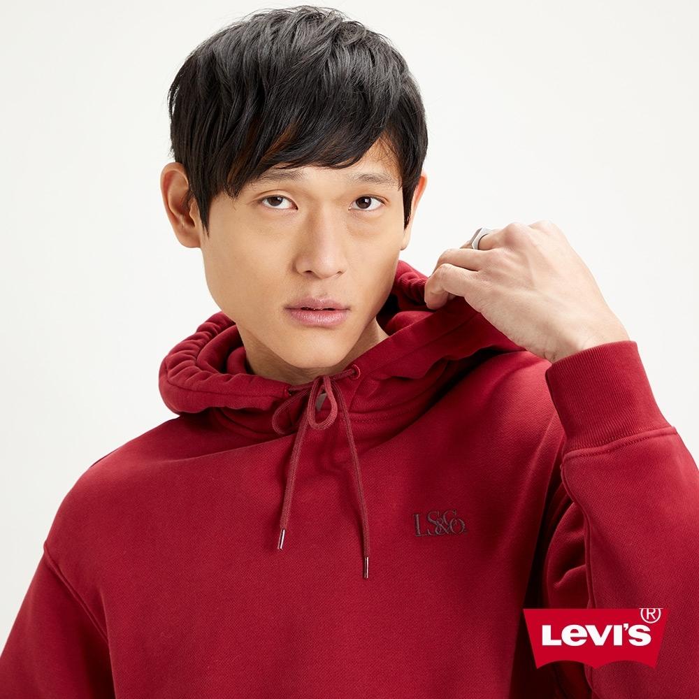Levis 男款 頂級重磅口袋帽T 簡約刺繡Logo 600GSM厚棉 學院紅