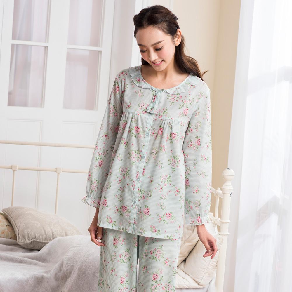華歌爾睡衣-平織棉印花M-L兩件式長袖居家服(印花綠)