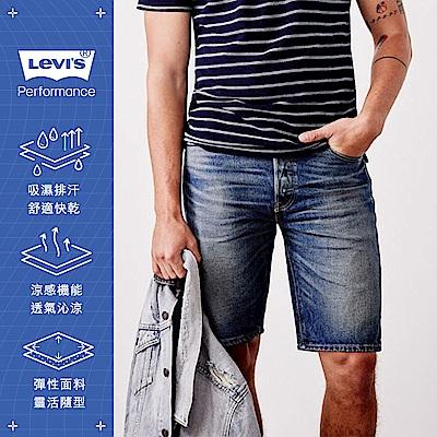 Levis 男款 505寬鬆直筒牛仔短褲 Cool Jeans 復古刷白