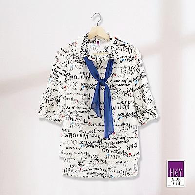 ILEY伊蕾 領巾造型字母印花棉麻上衣(白)
