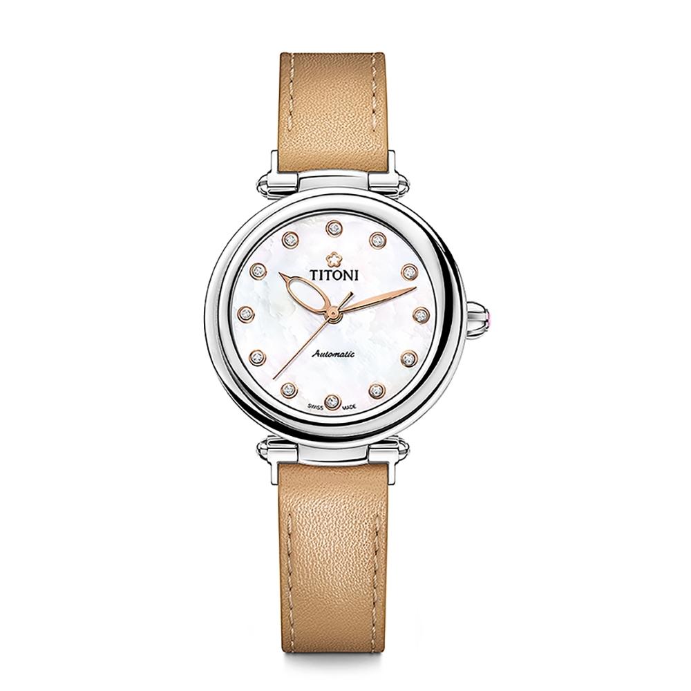 TITONI瑞士梅花錶 炫美時尚快拆系列/珍珠母貝/香檳金皮帶/33.5mm (23978 S-STC-622)
