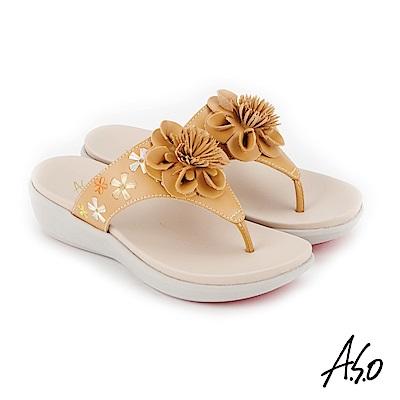 A.S.O 希臘渡假 全真皮俏麗圖騰花朵休閒涼拖鞋 卡其
