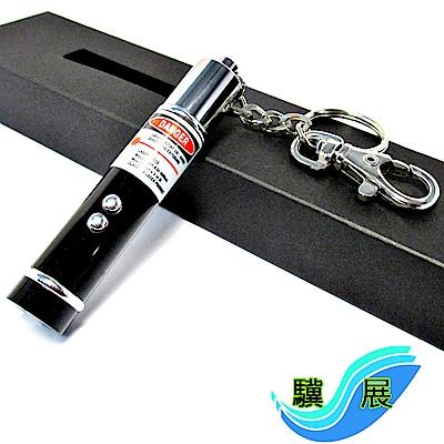 驥展 三合一 充電式紅光短版雷射筆 + LED燈 + 鑰匙圈 10入組