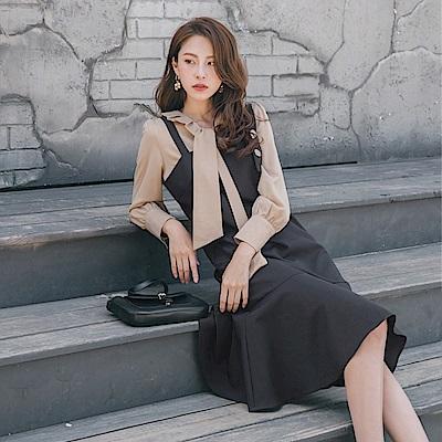 不對稱肩帶鈕扣設計荷葉裙襬洋裝-OB大尺碼