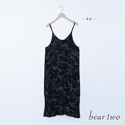 beartwo 渡假線條花朵印細肩帶洋裝(黑色)