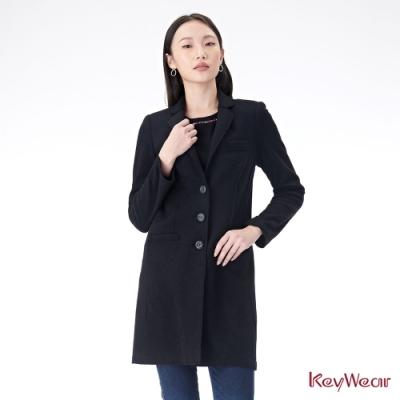 KeyWear奇威名品    開襟三釦西裝長版大衣-黑色