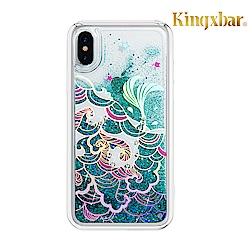 Kingxbar iPhone XR(6.1吋)施華洛世奇彩鑽流沙保護殼-海浪
