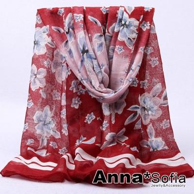 【2件450】AnnaSofia 漸層落櫻邊線 巴黎紗披肩圍巾(粉酒紅系)