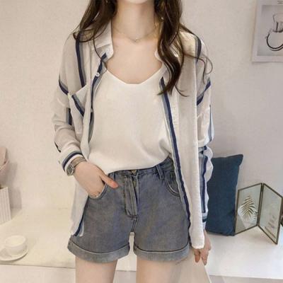 【韓國K.W.】韓國設計夏日風尚條紋雪紡薄外套-2色