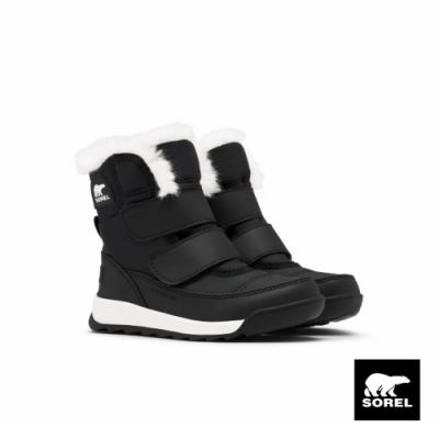 SOREL-WHITNEY II 小童戶外休閒中筒靴-黑色