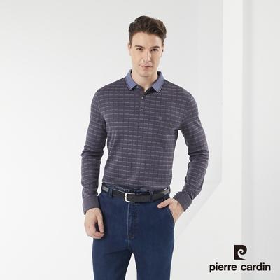 Pierre Cardin皮爾卡登 男款 保暖彈性棉質混紡 提花格紋長袖POLO衫-灰藍色(5185295-37)