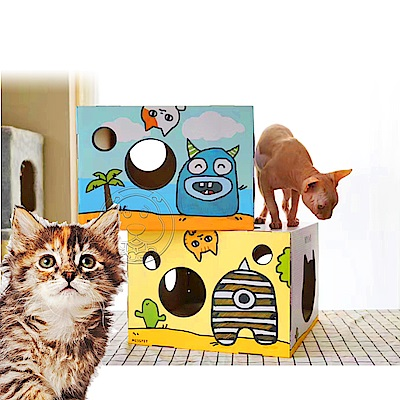 MISSPET》小怪物盒子|貓抓板|貓盒子38*38*27cm