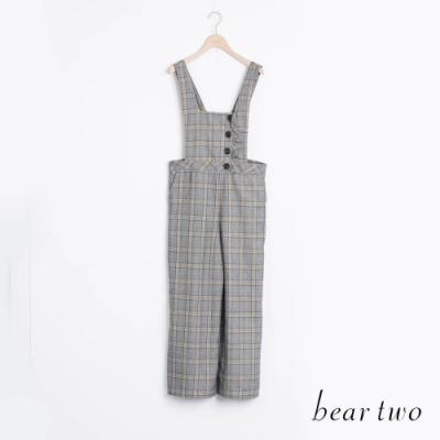bear two- 經典格紋吊帶長褲 - 黃