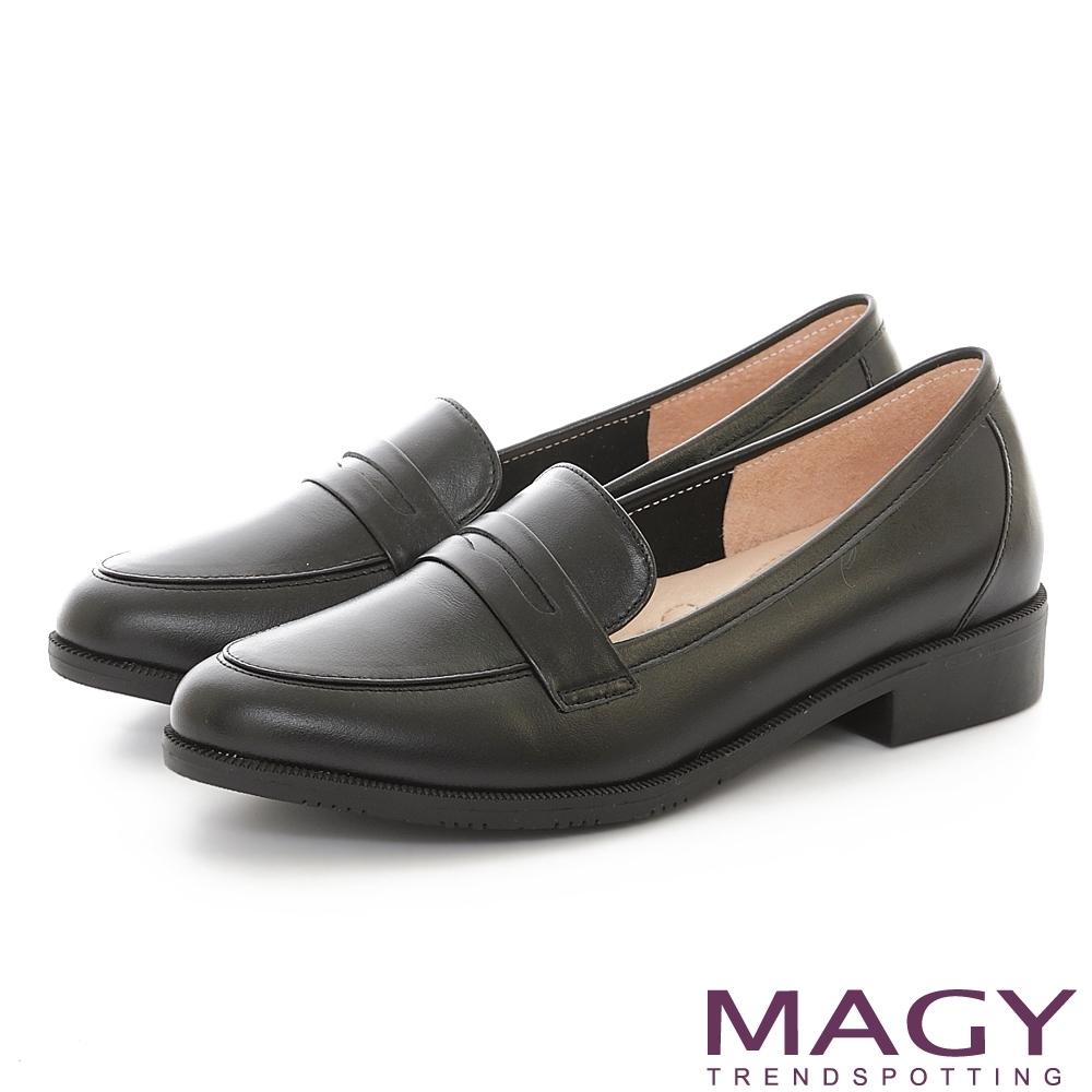 MAGY 文青復古真皮樂福 女 低跟鞋 黑色