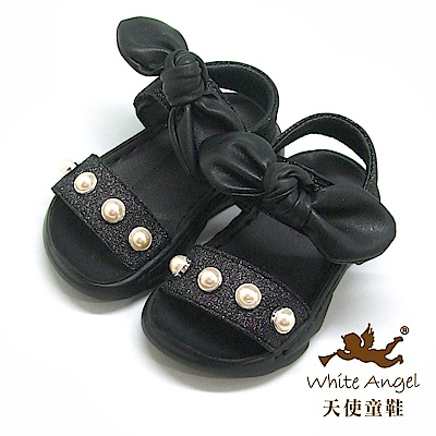 天使童鞋 可愛珍珠大蝴蝶涼鞋(小童)i939-黑