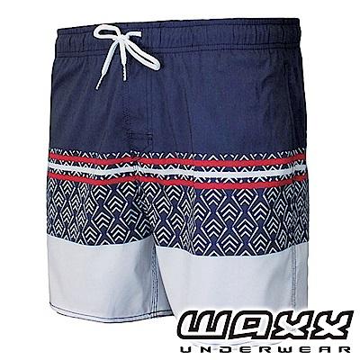 WAXX 衝浪系列-三色幾何拼接快乾型男海灘褲(15英吋)