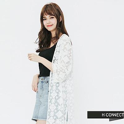 H:CONNECT 韓國品牌 女裝-蕾絲雕花開襟罩衫-白