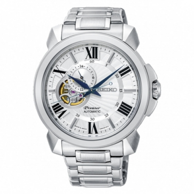 SEIKO 精工 Premier 羅馬鏤空設計機械時尚腕錶(SSA369J1)