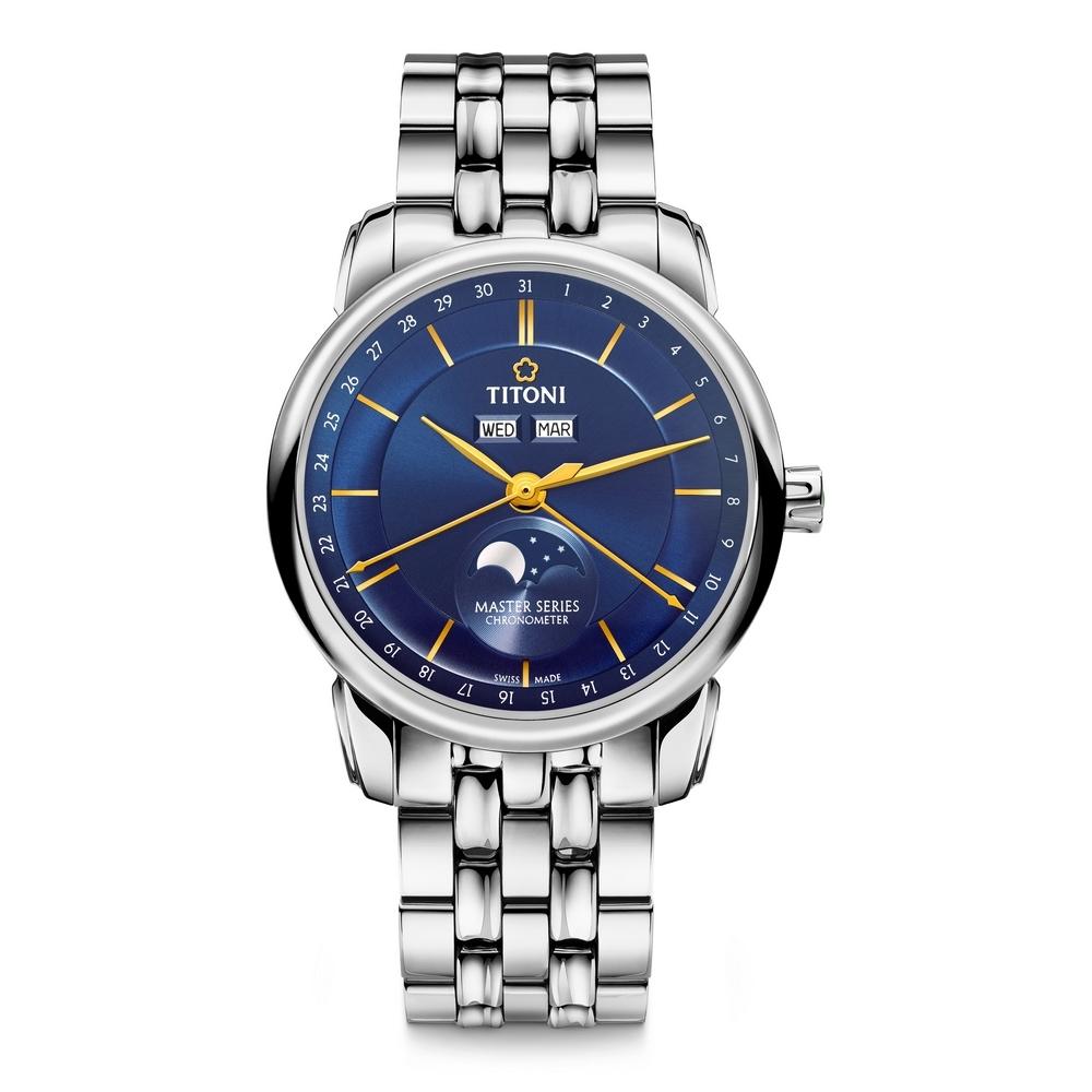 TITONI瑞士梅花錶 大師系列天文台認證月相錶(94588 S-636)-藍/41mm