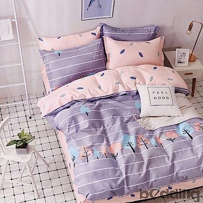 BEDDING-100%棉雙人鋪棉床包兩用被套四件組-許願樹-灰