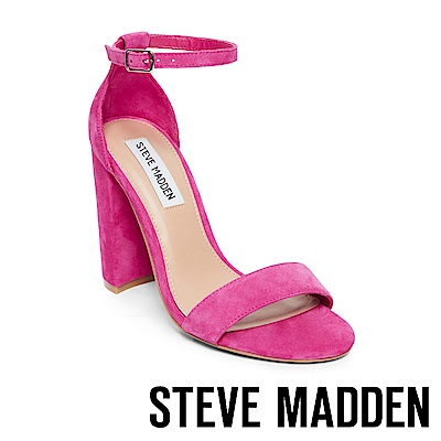 STEVE MADDEN-CARRSON 一字踝帶粗高跟涼鞋-絨桃