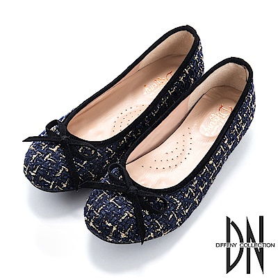 DN 時髦優雅 質感毛呢蝴蝶結平底鞋-藍