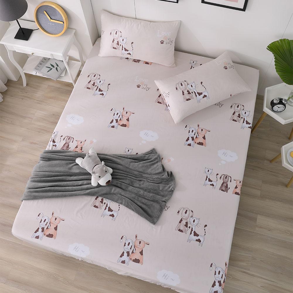 DESMOND岱思夢 單人 天絲床包枕套二件組(3M專利吸濕排汗技術) 狗狗樂園