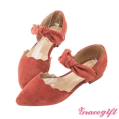 Grace gift-絨面花邊蝴蝶結尖頭低跟鞋 磚紅