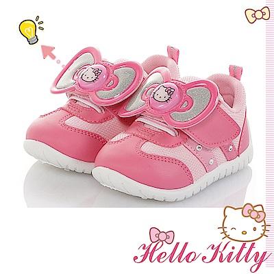 HelloKitty童鞋 電燈鞋 大蝴蝶結減壓抗菌防臭休閒鞋-粉