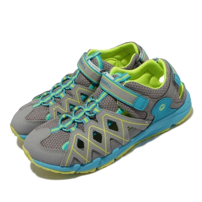 Merrell 戶外鞋 Hydro Quench 童鞋 女鞋 緩震 耐磨 赤足 高抓地力 中大童 灰 藍 MK163197