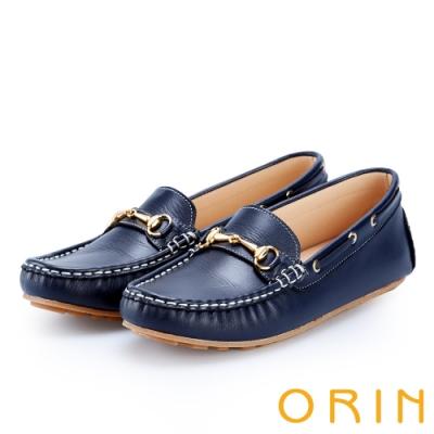 ORIN 復古樂活主義 馬蹄扣牛皮帆船鞋-藍色