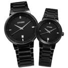 CITIZEN 輕薄簡約日期視窗對錶-鍍黑/ 40mm+27mm