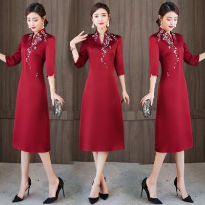 古典紅枝葉印花小立領旗袍洋裝M-4XL-REKO
