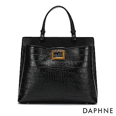 達芙妮DAPHNE-鱷魚紋方扣托特包-黑