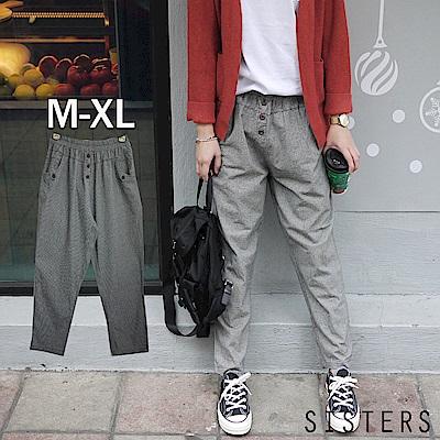 森林系格子棉麻大口袋哈倫褲九分褲(M-XL) SISTERS