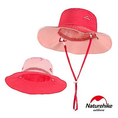 Naturehike HT10戶外休閒高防曬速乾透氣雙面戴漁夫帽 遮陽帽 附收納袋 桃粉色-急