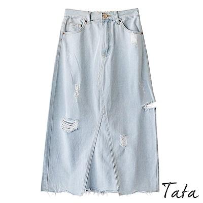 刷破下擺不規則牛仔裙TATA