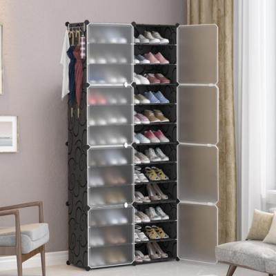 【Mr.Box】24格8門1掛 防塵組合鞋櫃盒 深 32CM(黑+霧款)